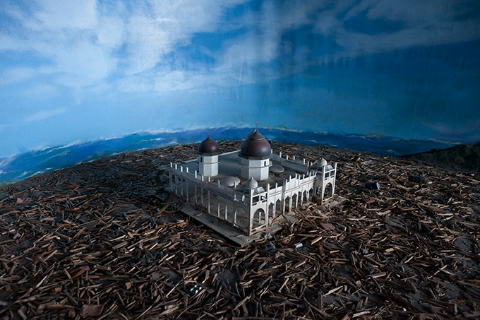 Diorama depicting Banda Aceh's Baiturrahman Grand Mosque, Aceh Tsunami Museum, Banda Aceh, Indonesia.