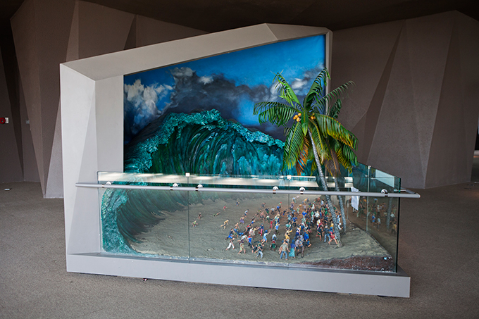 Diorama depicting people fleeing a wave, Aceh Tsunami Museum, Banda Aceh, Indonesia.