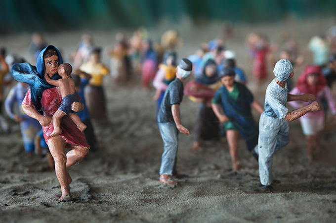 Diorama depicting people fleeing a wave, Aceh Tsunami Museum, Banda Aceh, Indonesia (detail).