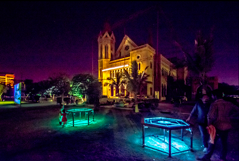 Aamir Habib's LED carrom boards. Photograph: Humayun Memon