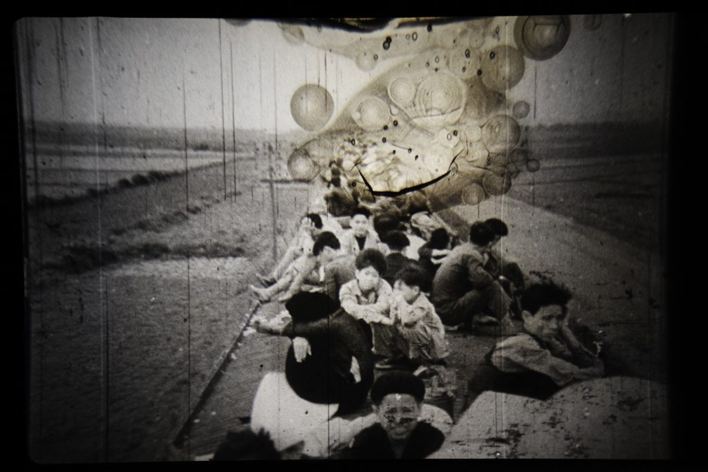 "Photographic interpolation of projected 16mm film, ""Ác-mộng Mười Năm, 1954–1964"" (Nightmare Ten Years Long, 1954–1964), Vietnam. Ivan Sigal, 2019."