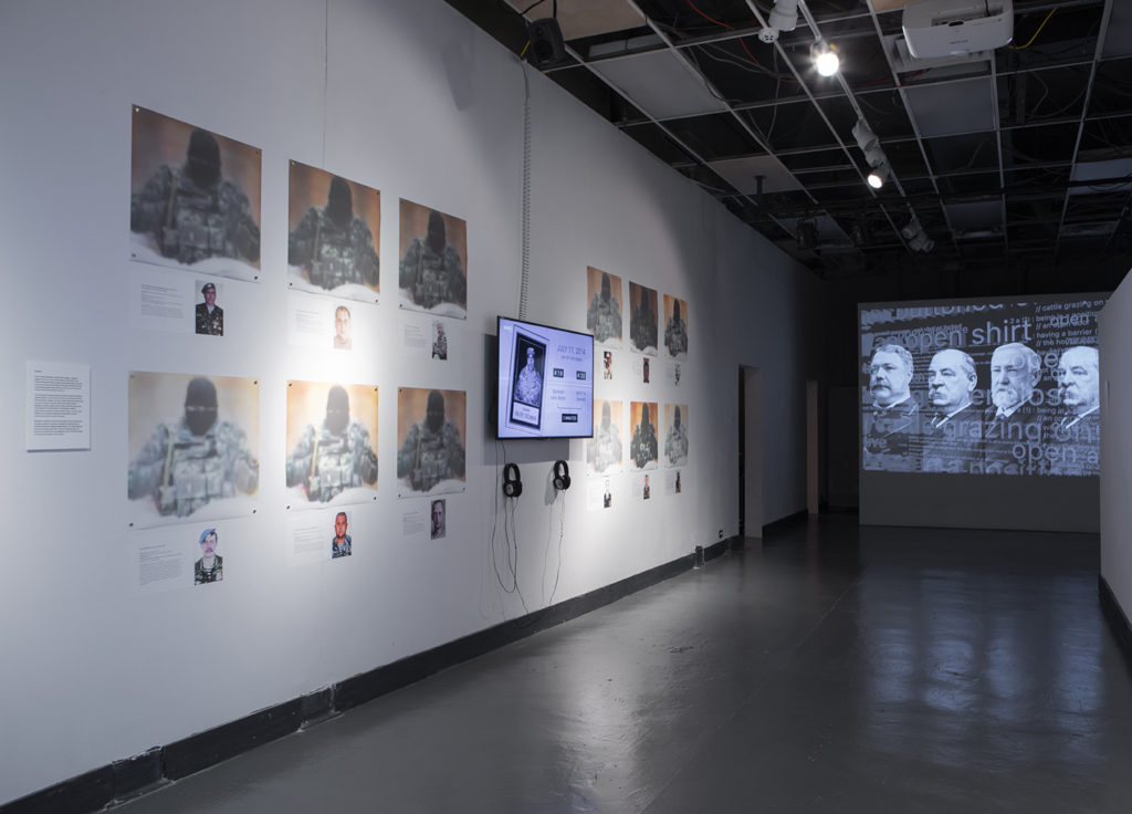 Installation view, The Potemkin Project, featuring Bellingcat's Investigation of the downing of MH17 and Robin Bell's The Swamp. Slought Foundation, Philadelphia, PA 2019.