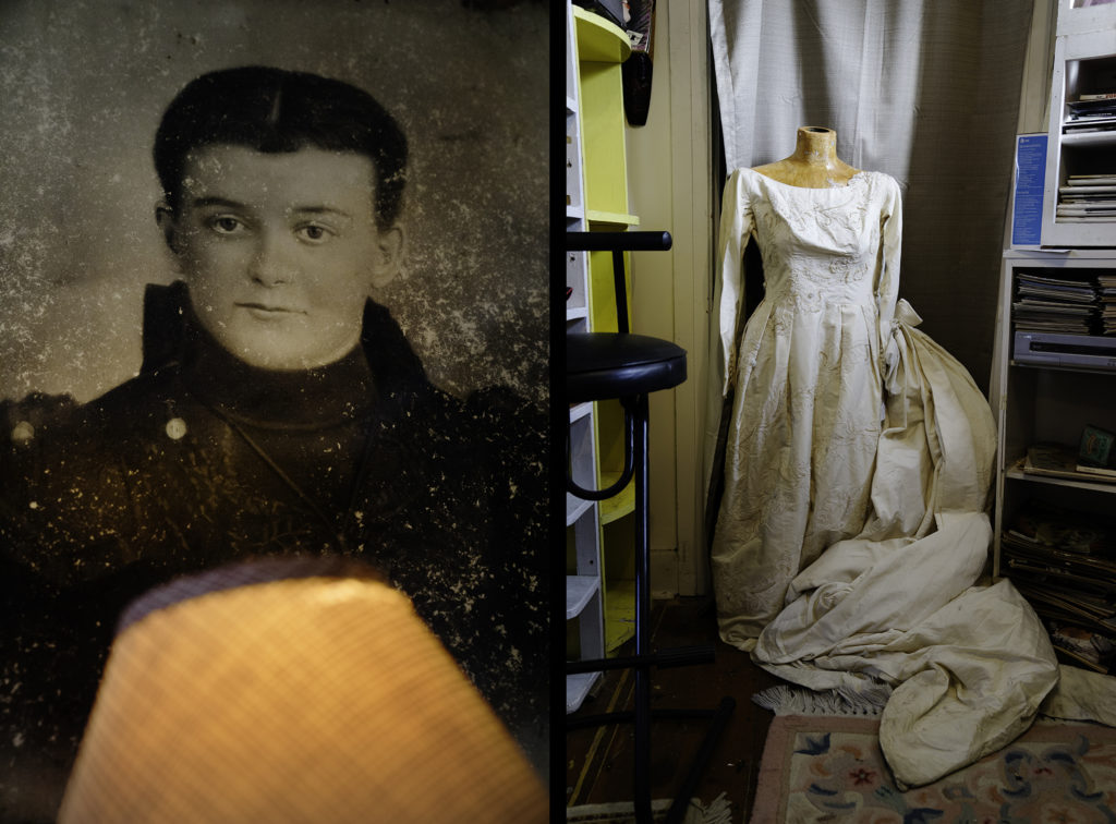 Found Photograph and Wedding Dress diptych